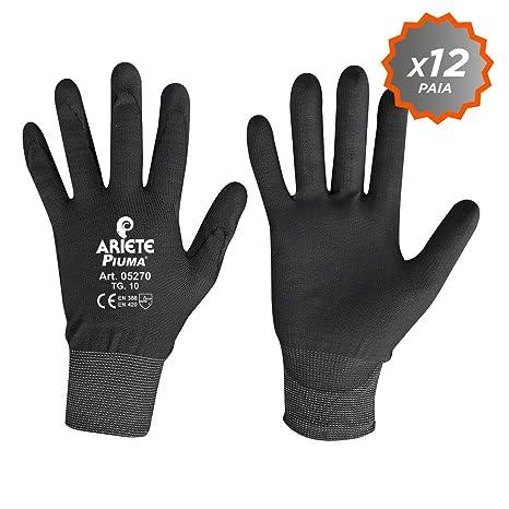 Confezione da 12 guanti in filato di nylon elastico con palmo ricoperto in  poliuretano taglia L 9a363f076727