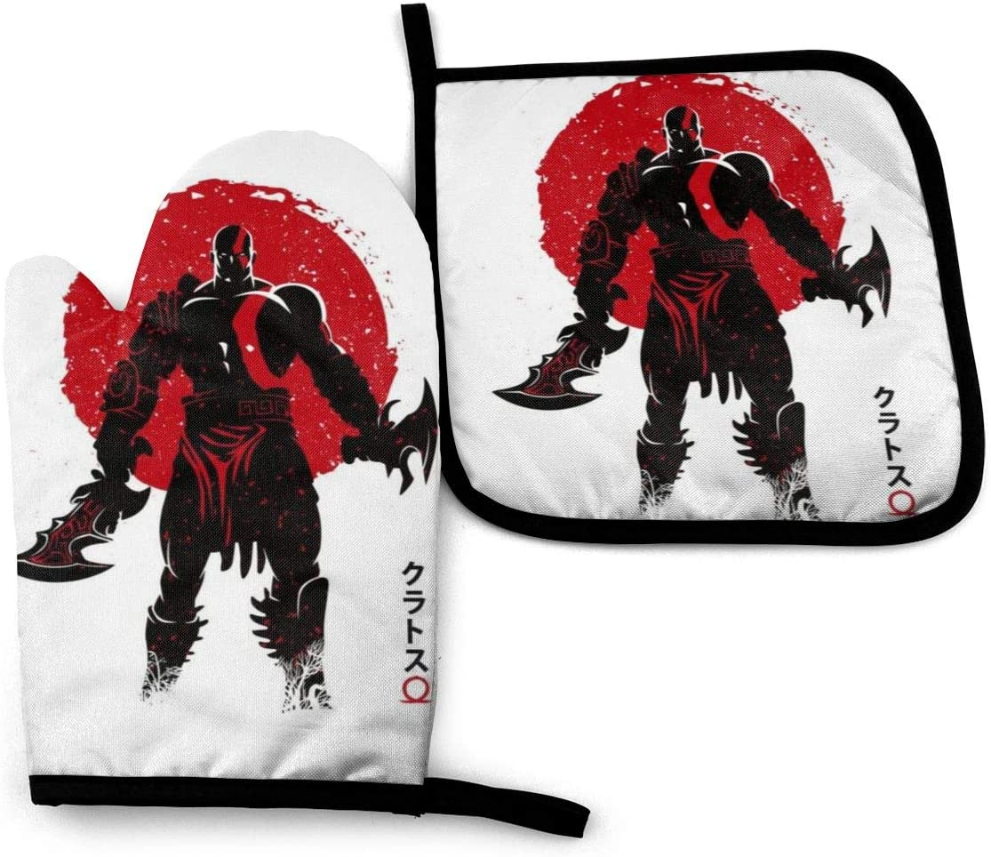 SDFDFGD Kratos God of War Japan -Oven Mitts and Pot Holders Heat Resistant Kitchen Bake Gloves Cooking Gloves