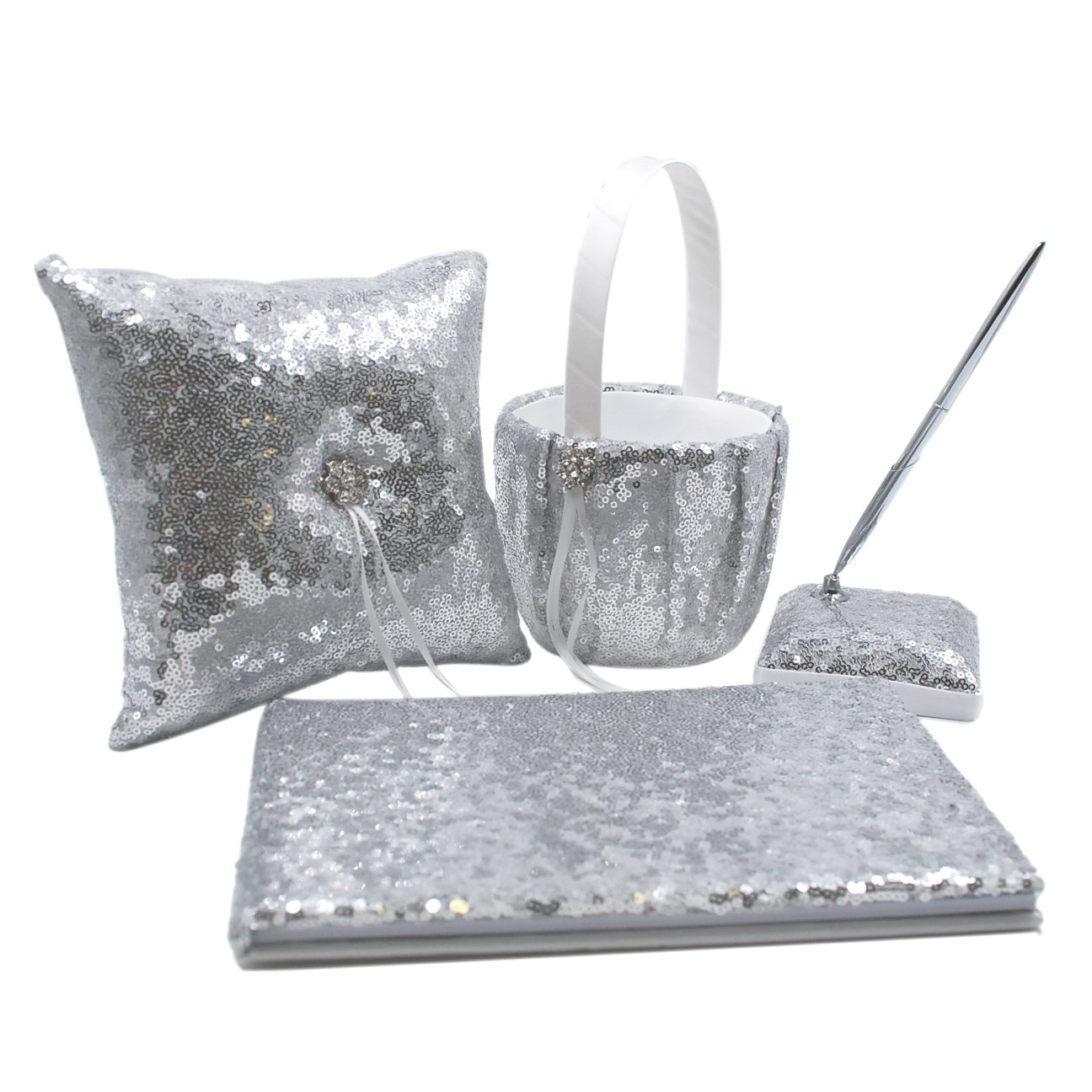 Abbie Home Sequin Glitter Wedding Guest Book + Pen Set + Flower Basket + Ring Bearer Pillow Rhinestone Décor Wedding Party Favor-Silver by Abbie Home