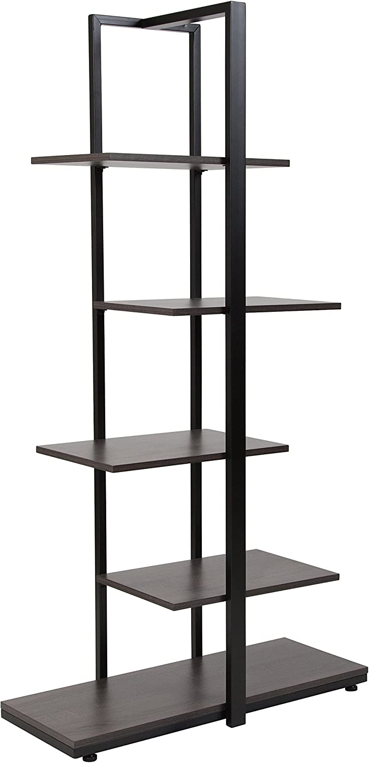 Flash Furniture Homewood Collection 5 Tier Decorative Etagere Storage Display Unit Bookcase with Black Metal Frame in Driftwood Finish