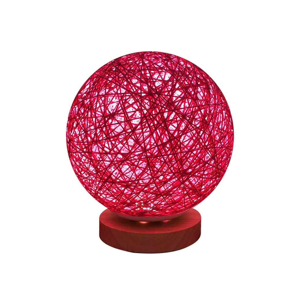 20CM 3D USB Charging LED Light, Dingji Round Creative Rattan Style Moon Night Light Moonlight Table Desk Moon Lamp