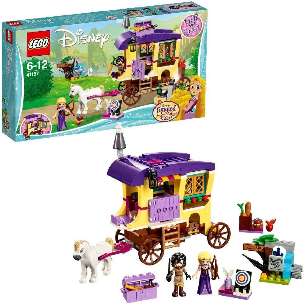 LEGO Disney Princess - Caravana de Viaje de Rapunzel, Juguete con Mini Muñeca de Princesa y Carroza con Caballo para Niñas y Niños de 6 a 12 Años (41157)