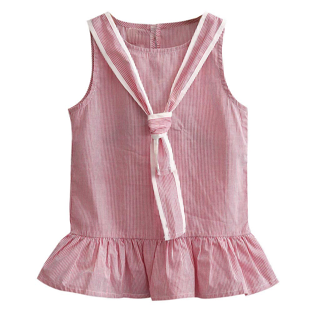 2019 Toddler Kids Baby Girls Summer Dress Stripe Sleeveless Party Princess Dresses (Red, Age:3-4 Years)