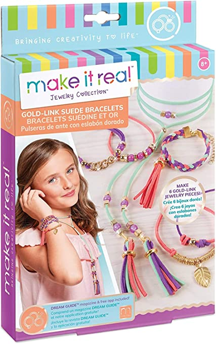 Make It Real Beads Gold Link Suede Bracelets Arts and Crafts Kit to Design and Create Unique Tween Jewelry with Faux Suede DIY Suede Bracelet /& Choker Making Kit for Girls Gold Pieces /& Charms 1207