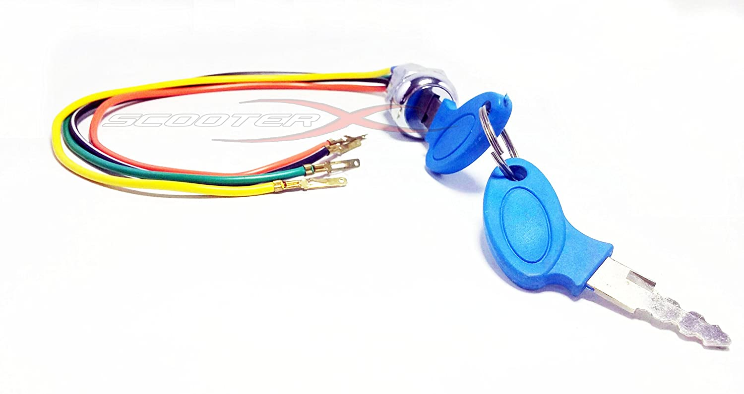 Scooterx 4 Wire Ignition Switch Key Fits Many Gas And Wiring Diagram For A X1 49cc Pocket Bike Electric Scooters Go Karts Bikes More Sports Scooter Wheels