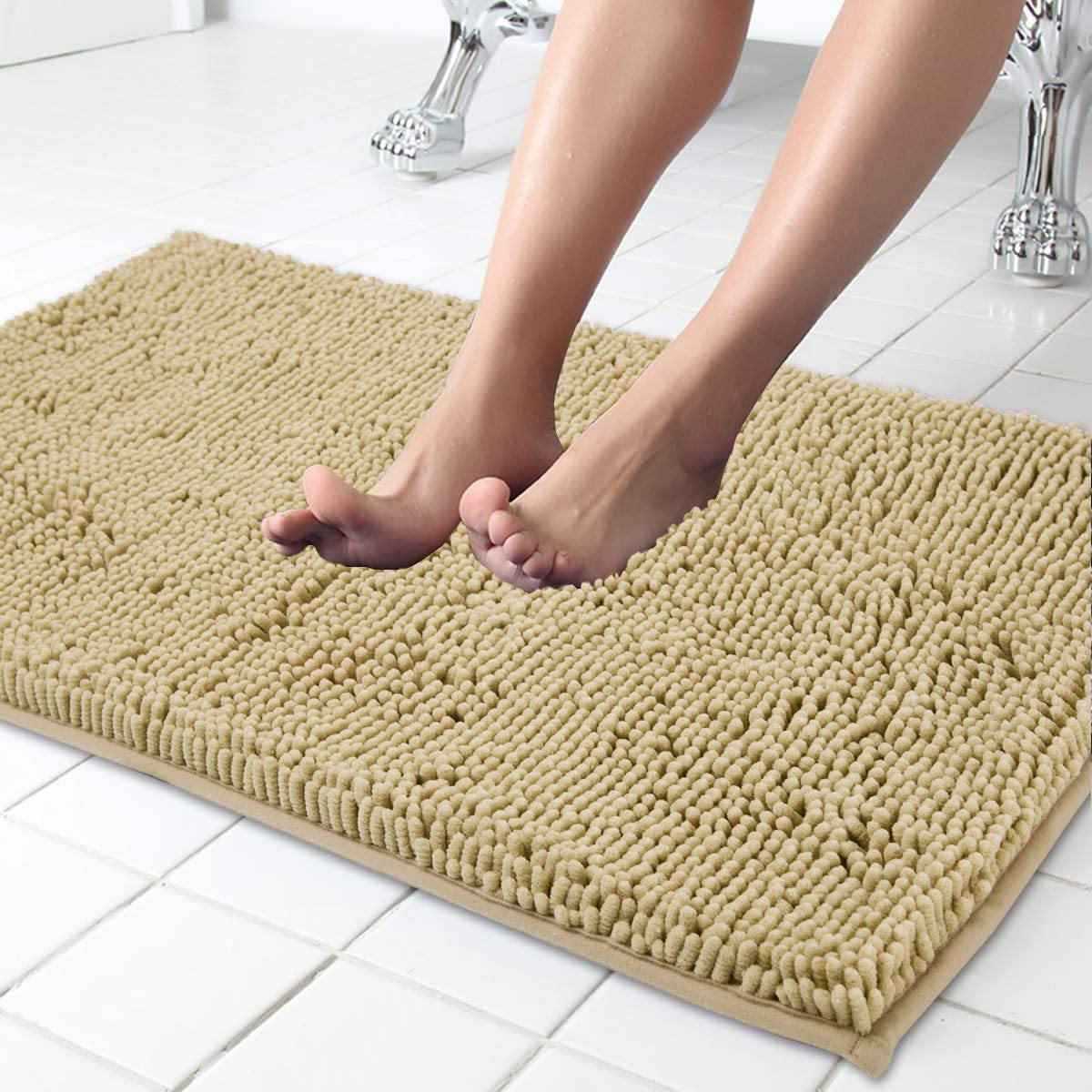 Itsoft Non Slip Shaggy Chenille Bath Mat Soft Microfibers Bathroom Rug With Water Absorbent Machine Washable 53x87 Cm Beige Amazon Co Uk Kitchen Home