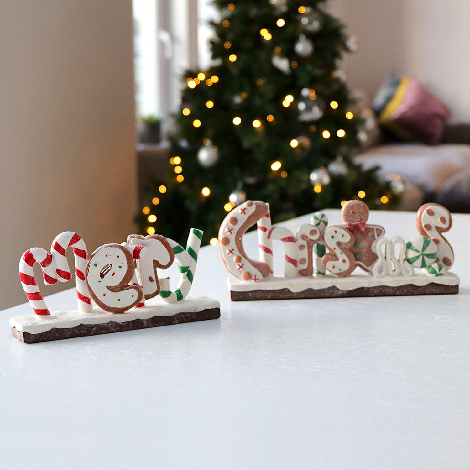 Mr Crimbo Merry Christmas Slogan Sign Decoration 2 Piece Ornament Candy Canes Gingerbread White Red Green Festive Xmas Display 53cm