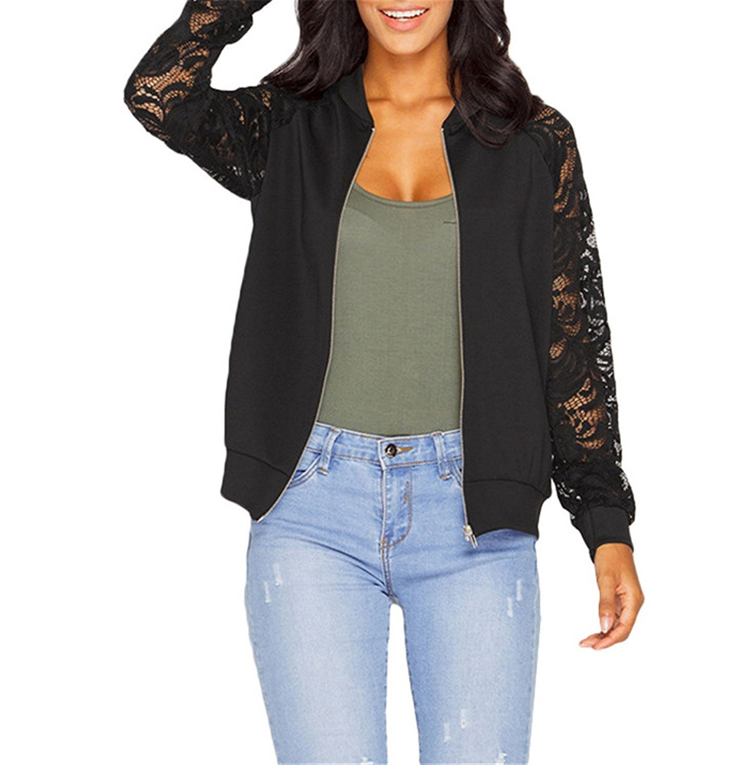 Toping Fine Women Jackets New Arrival Autumn Ladies Solid Lace Stitching Baseball Jacket Stand Collar Bomber Jacket WhiteX-Large