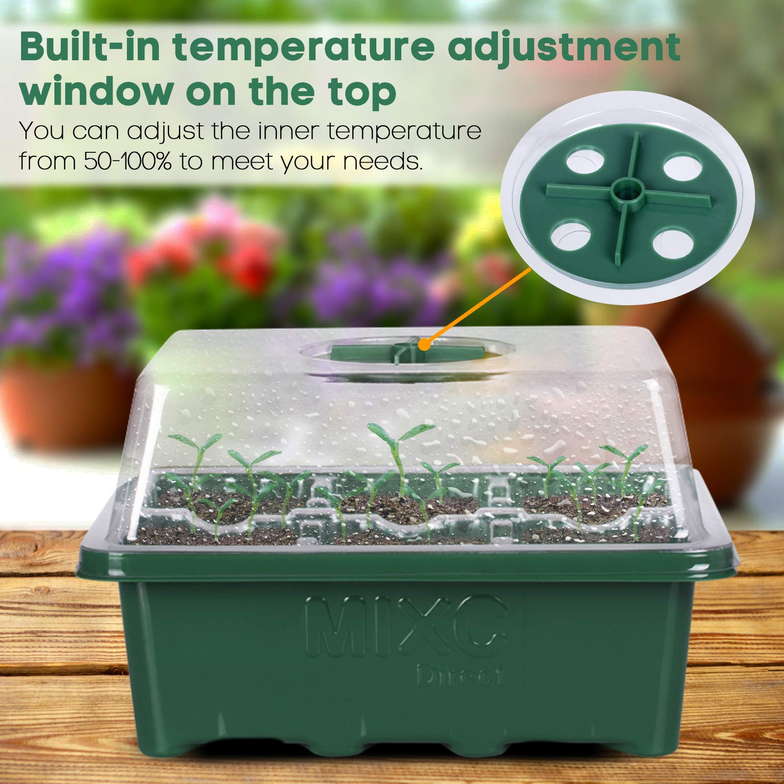 10 Set Seedling Trays Seed Starter Kit, MIXC 60 Large Cells Mini Propagator Plant Grow Kit with Humidity Vented Domes and Base for Seeds Starting Germination Greenhouse (6 Cells per Tray)