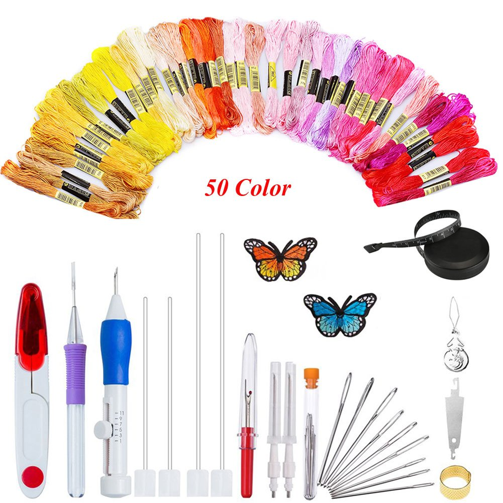 iLosga Magic Embroidery Pen Sets Embroidery Starter Kit Including a Plastic Embroidery Hoop 50 Color Threads and Cross Stitch Tool Kit for DIY Threaders Sewing Knitting
