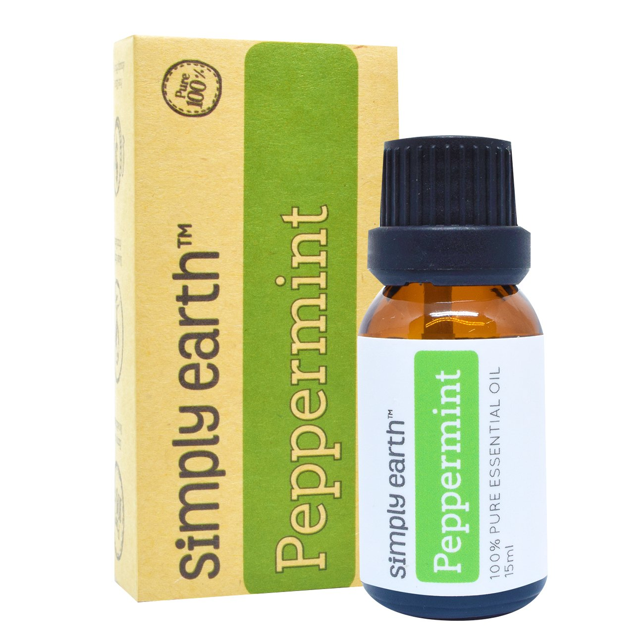 Simply Earth Peppermint Essential Oil by 15 ml, 100% Pure Therapeutic Grade