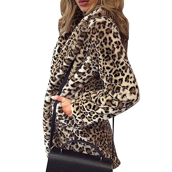 Beautyfine Ladies Faux Fur Coat Jacket Womens Leopard Print Casual Long Sleeve Warm Winter Parka Outerwear at Amazon Womens Coats Shop