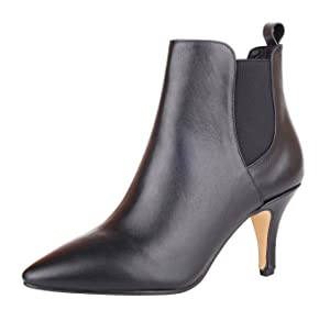 Verocara Women's Genuine Leather High Heel Comfortable Elastic Bootie Black Leather 8.5 B(M) US
