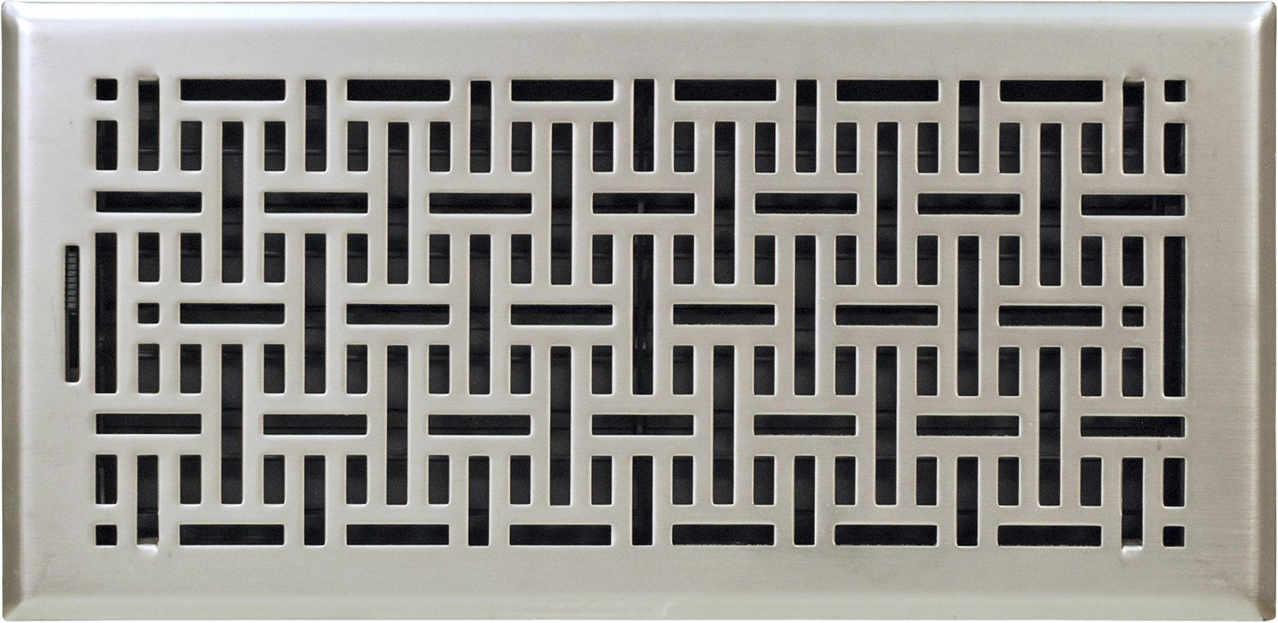 Accord Ventilation AMFRSNB614 Wicker Design Floor Register, Satin Nickel, 6'' x 14'', Silver