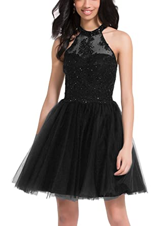 59a0d85a18 Halter Corset Tulle Lace Vintage Prom Dress Short Beaded Party Cocktail  Ball Gown For Junior Girl