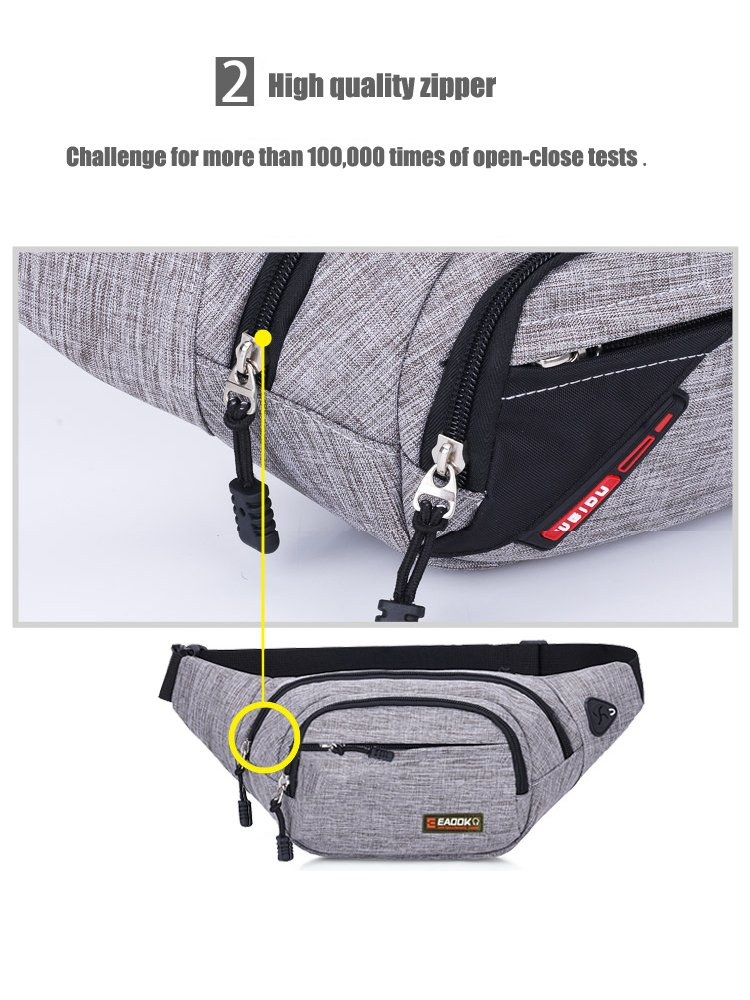 EAOOK Waterproof Travel Belt,Big Fanny Pack for Outdoor Sport/Money Belt(Grey) by EAOOK (Image #4)