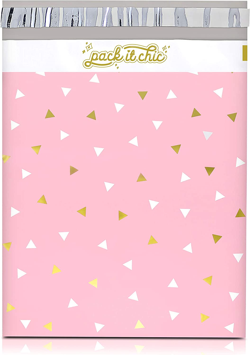 "Pack It Chic - 12"" X 15.5"" (100 Pack) Pink Gold Triangle Confetti Poly Mailer Envelope Plastic Custom Mailing & Shipping Bags - Self Seal"