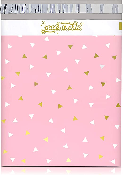 """200 Pack of 10x13/"""" Cute Fun Black Pink Shopping Styled Poly Mailer Clothing Bag"""