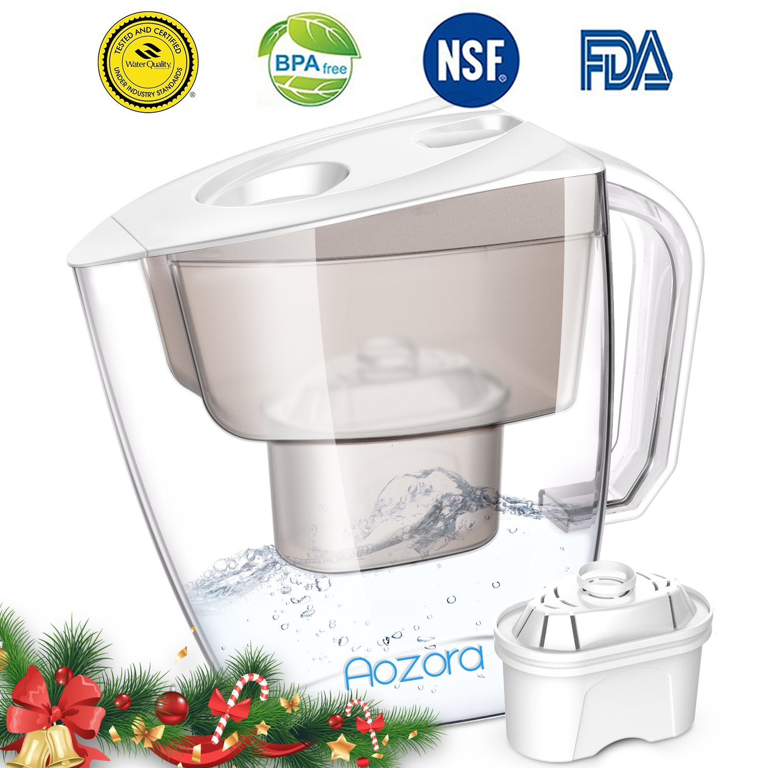 Water Filter Pitcher – Large Water Purifier Pitcher with Chlorine Removal Filter, BPA Free Water Filtration Pitchers for Home Baby, 4 Stage Filtration System Water Pitcher, 3.5L Capacity, Clear