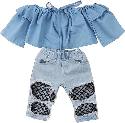 Amazon.com: Ropa de bebé niña vaquero trajes Crop Top ...