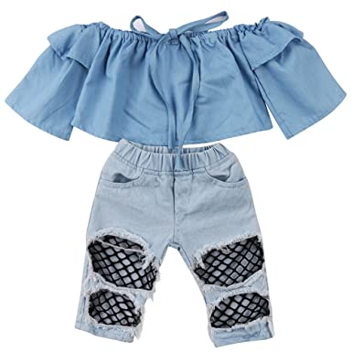 Newborn Kids Baby Girls Off Shoulder Tops Denim Pants Hole Jeans Outfits  Toddler Infant Clothes ( beefdf8cf6d4