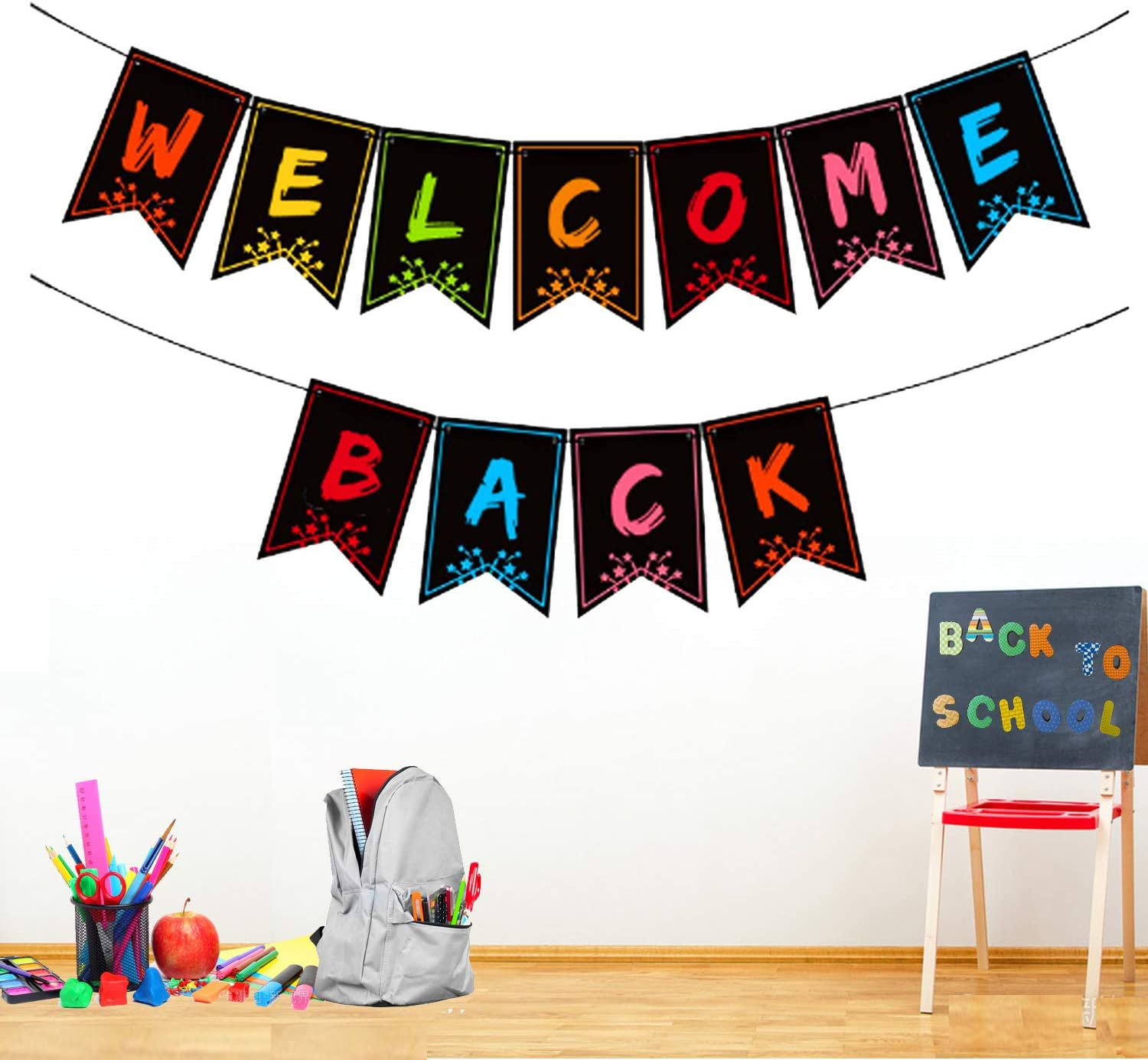 Welcome Back Banner for Classroom Decorations - Welcome Bulletin Board Banner Welcome Chalkboard Brights Pennants for Back to School Teacher Supply