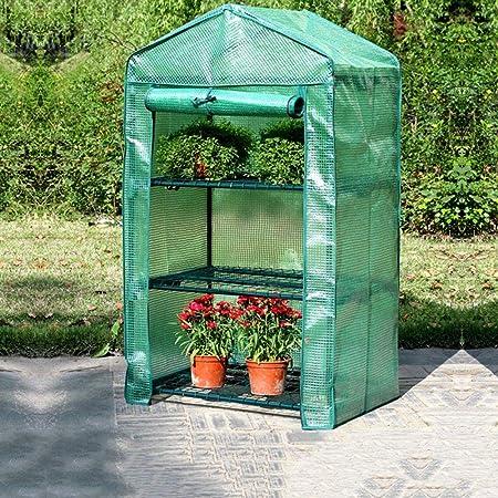 Invernaderos Jardin Hogar Pequeño Invernadero, De Tres Pisos Tienda De Jardín, Sala Interior Crecimiento De Las Plantas, Tamaño: 69cm X 49cm X El 125CM, for Plantas De Flores (Color : Green): Amazon.es: