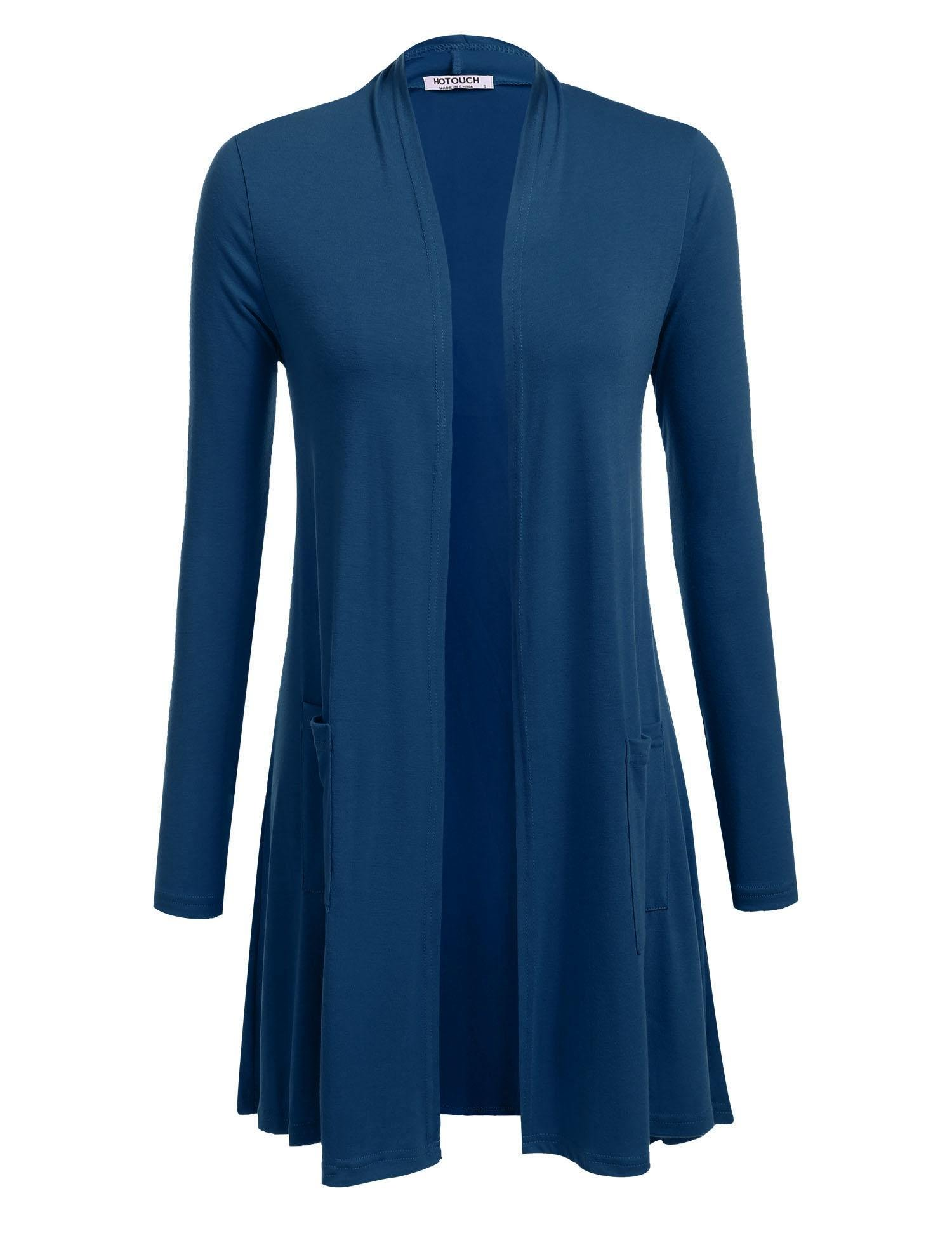 Hotouch Women's Boyfriend Pocket Cardigan Jersey Shrug Peacock Blue XXL