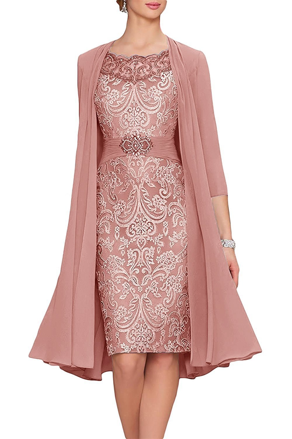 Womens Lace Chiffon Mother of The Bride Dress Formal Gowns with Jacket Blush US16W