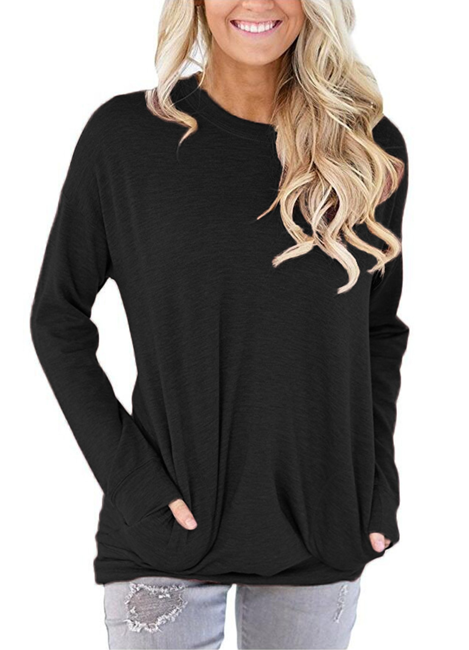 onlypuff Black Casual T-Shirt for Women Long Sleeve Tops Round Neck Solid Color Medium