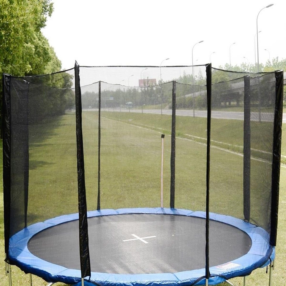12FT Round Trampoline Enclosure Safety Net Fence Replacement W/Sleeves 8 Poles usa