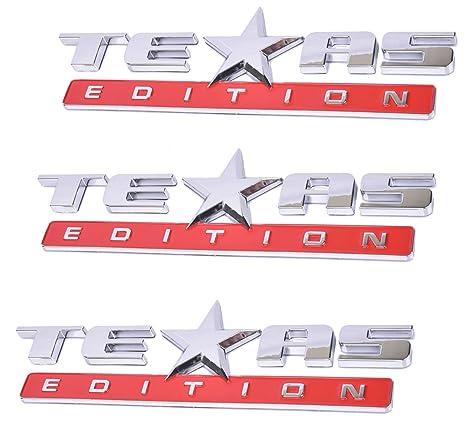 Muzzys Texas Edition BLACK and RED 3M Stick On Emblem Badge FITS GMC Sierra Chevy Silverado Suburban Tahoe Ford F150 Dodge Ram Nissan Titan Truck