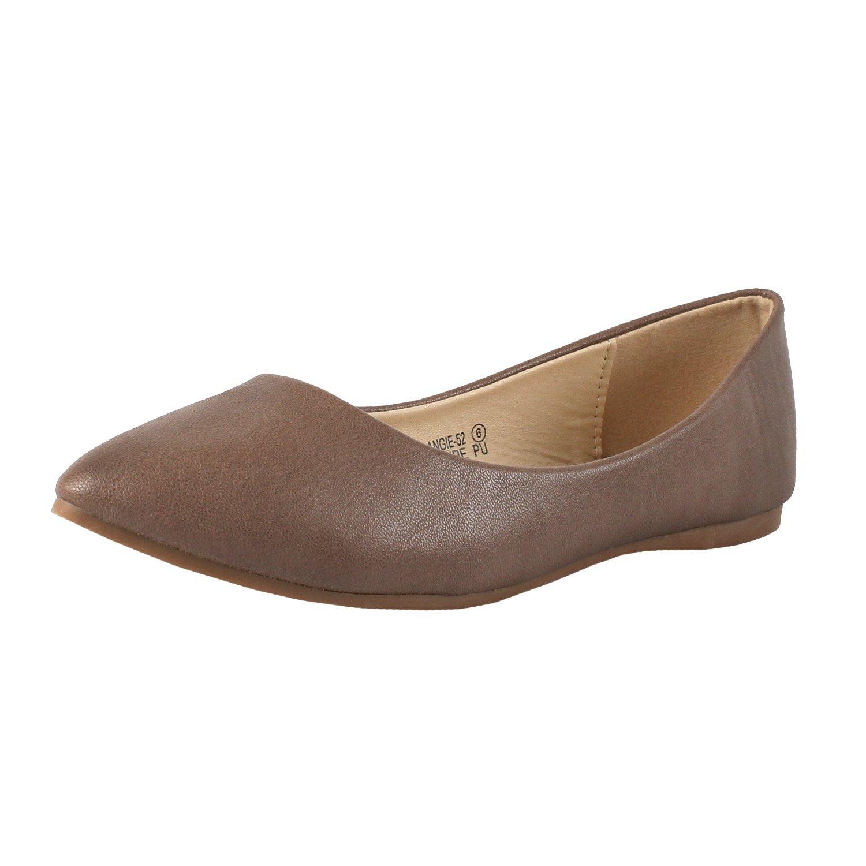 Bella Marie Women's Classic Pointy Toe Ballet PU Slip On Flats