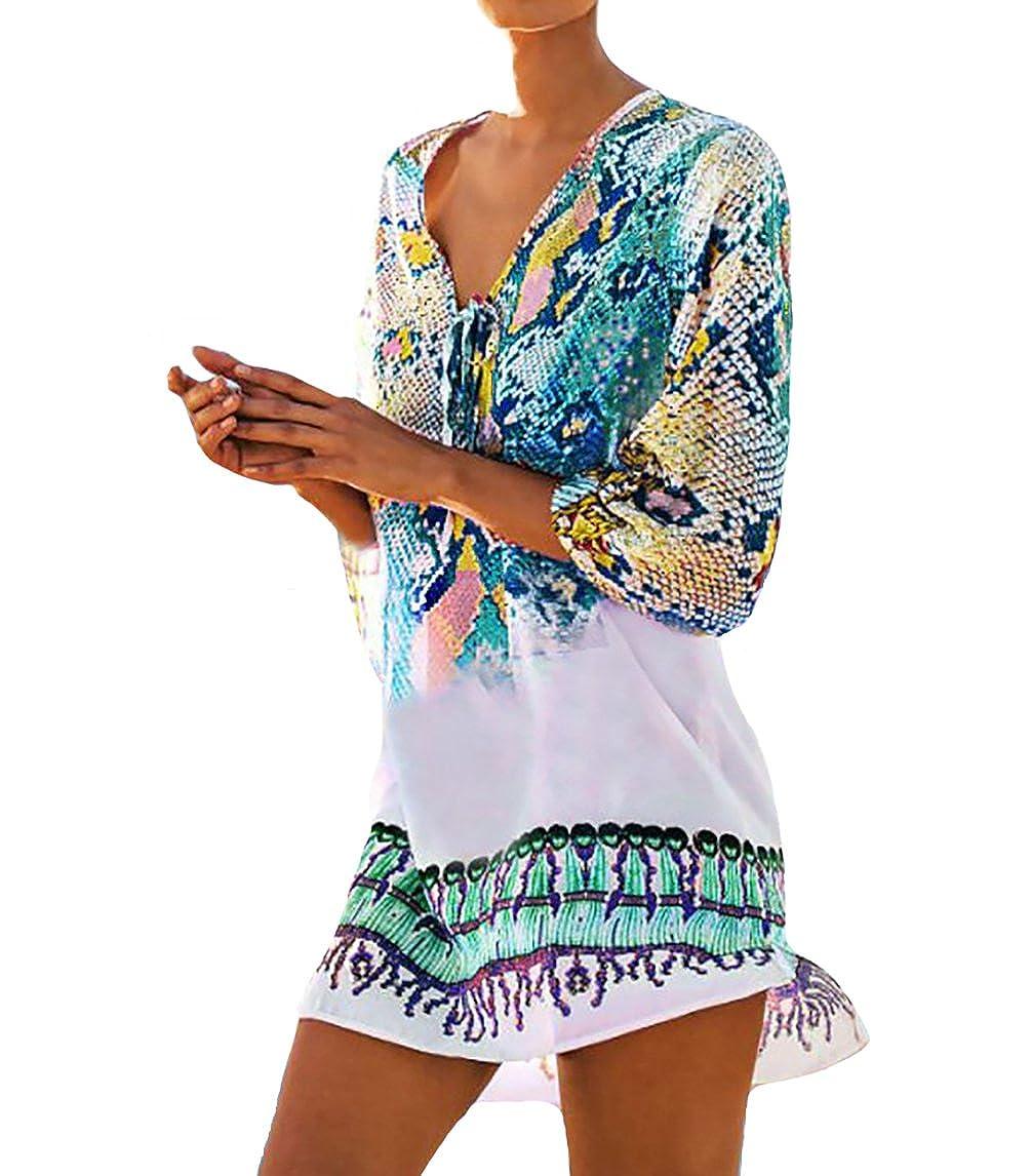 7832c9322 Bestyou Women's Fashion Swimwear Printed Sheer Chiffon Bikini Swimsuit  Bathing Suit Cover up Tunic Tops Beach Mini Dress (Blue A) at Amazon  Women's Clothing ...