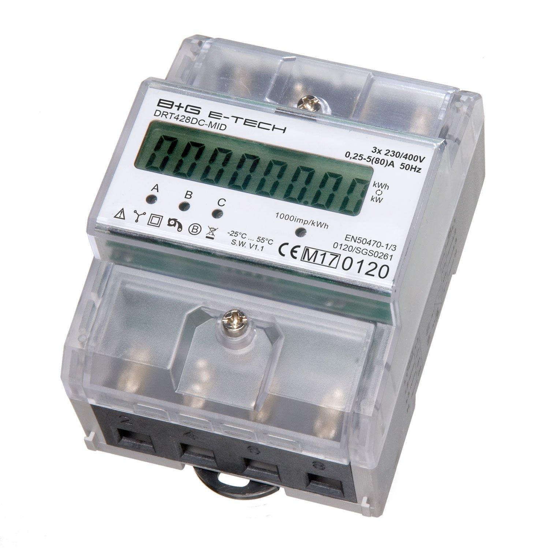 B+G e-tech DRT428DC-MID - LCD digitaler Drehstromzä hler Stromzä hler MID GEEICHT/BEGLAUBIGT 5(80) A mit S0 Interface fü r DIN Hutschiene