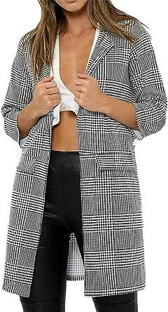 New Ladies Womens Check Hounds Tooth Tartan 3//4 Sleeve Duster Coat Jacket Blazer