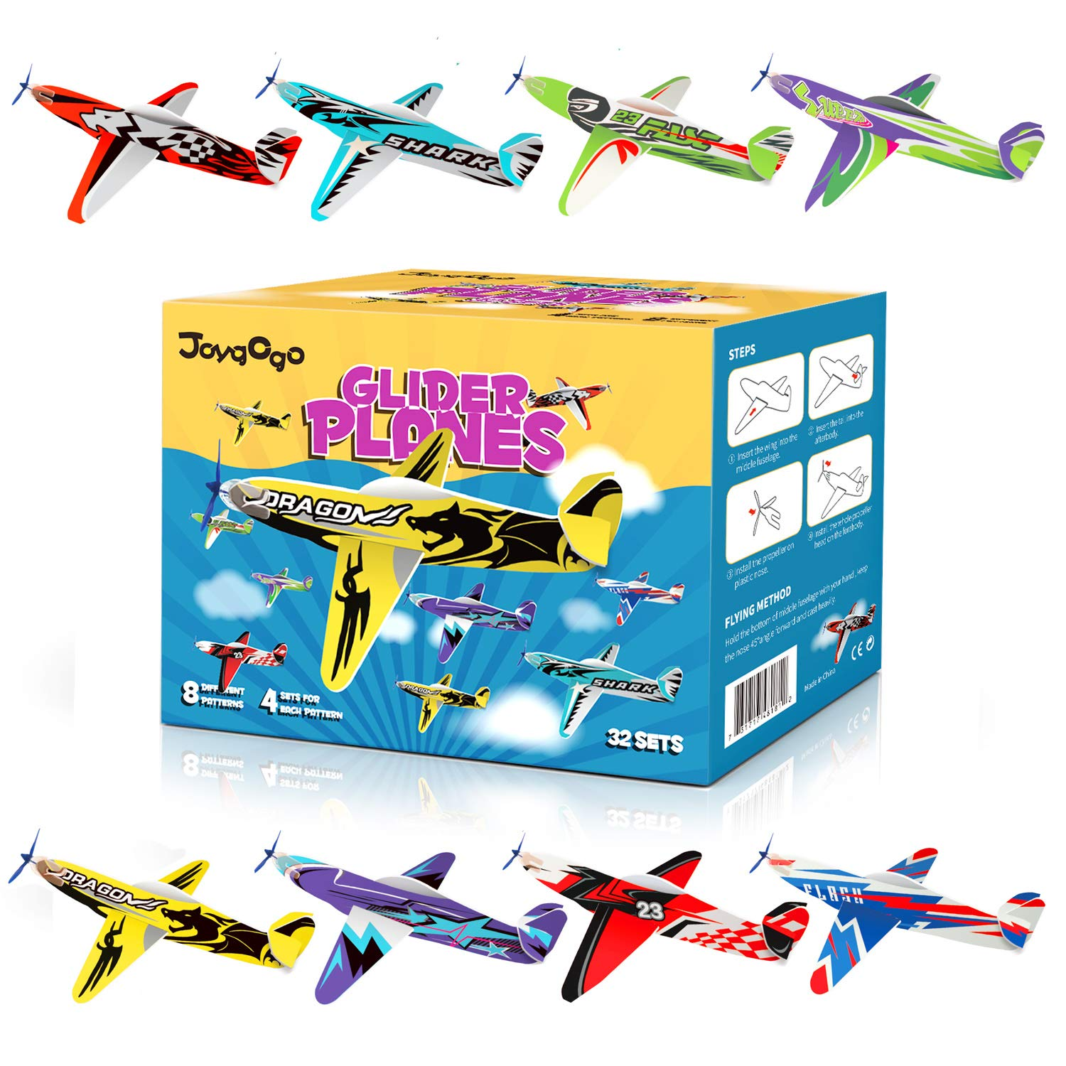 Joygogo 32 Pack Glider Planes,8'' Long Flying Glider Plane,8 Different Designs,Easy Assembly,Durable Quality-Kids Party Favors for Valentines Airplanes,Birthday Party, Carnival Prizes
