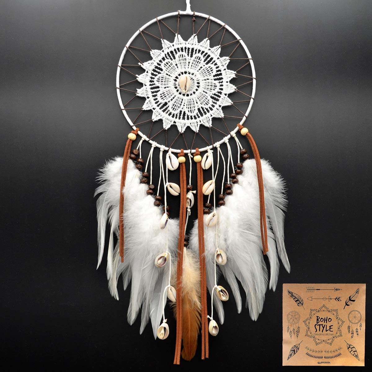 Urdeoms Dream Catcher Handmade Seashell Wall Hanging Decoration Dream Catchers for Bedroom Dia 6