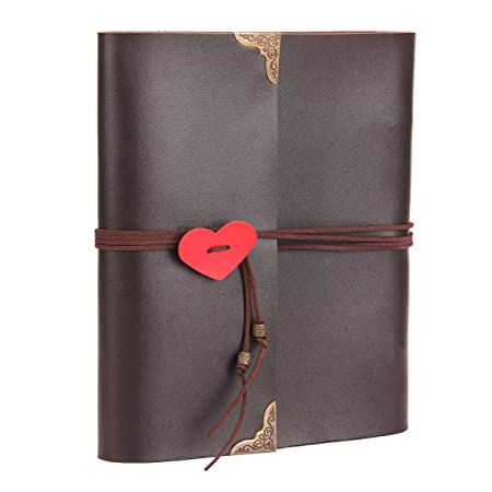 Album de Fotos de Piel,Libros de Firmas para Boda Scrapbook Album Cuaderno de Cuero Diario de Viaje Vintage Regalo Original para Aniversario de Boda ...
