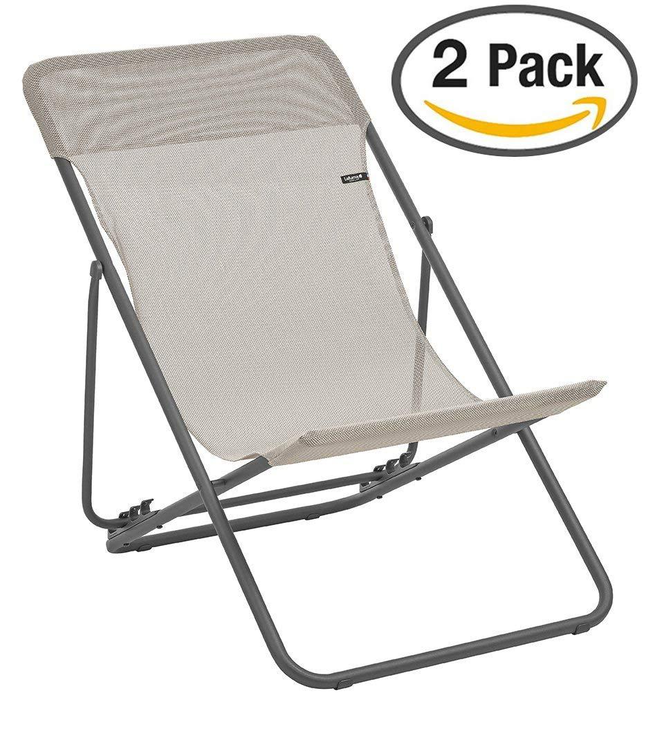 Lafuma LFM2502-8548 Maxi Transat Folding Sling Chair with Basalt Steel Frame and Batyline Fabric, ((Set of 2), Seigle