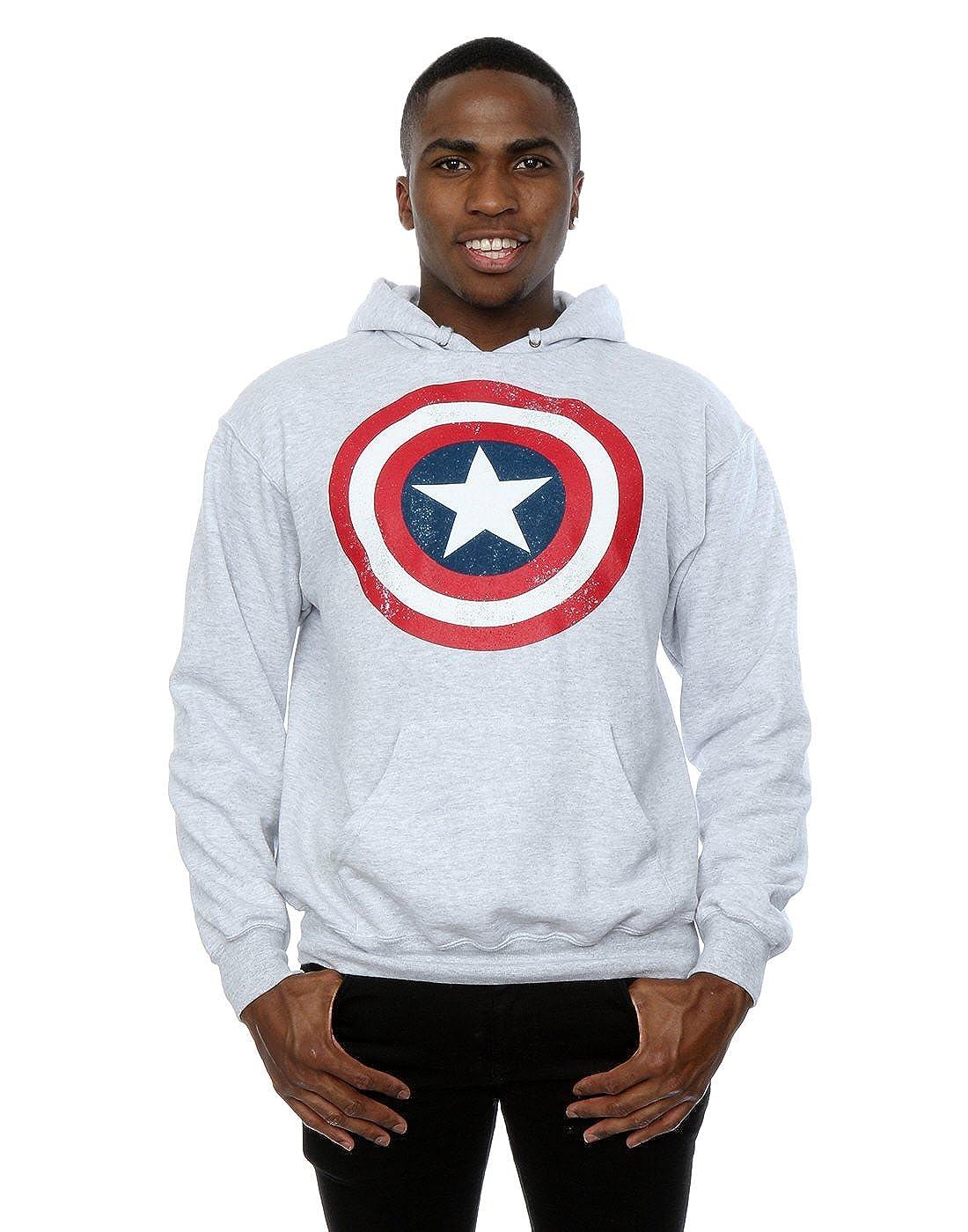 Marvel Uomo Captain America Distressed Shield Felpa con cappuccio Absolute Cult