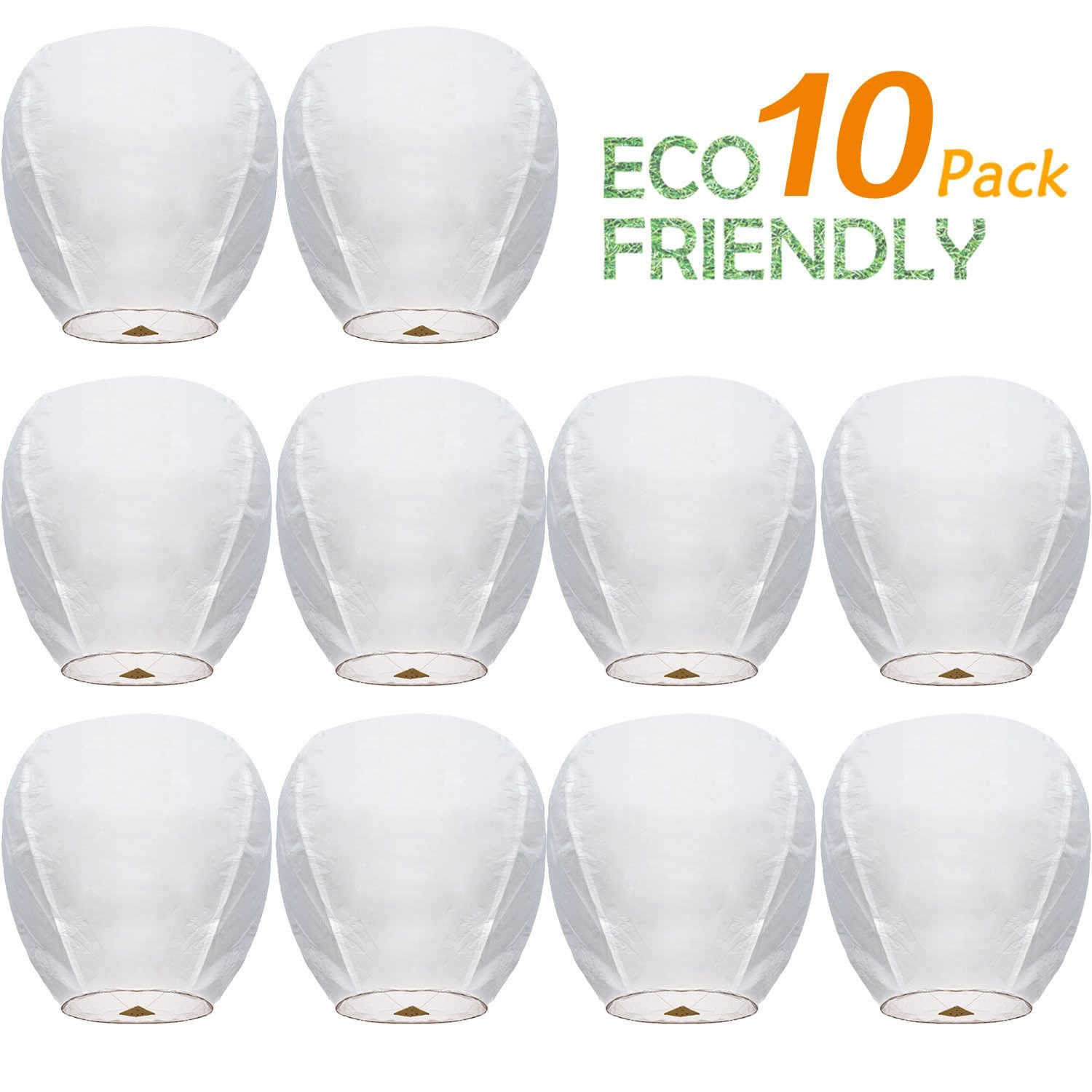 Chinese Paper Flying Sky Lanterns Wire-Free Flying 100% Biodegradable- for Wedding, Christmas, Memorial, Party Wish (10 Pack)