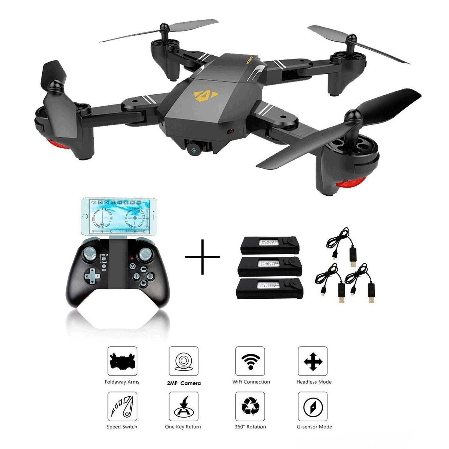XS809W Foldable RC Quadcopter with Altitude Hold FPV VR Wifi Wide-angle 720P 2MP HD Camera 2.4GHz 6-Axis Gyro Remote Control XS809HW Drone(XS809W drone) CreaTion