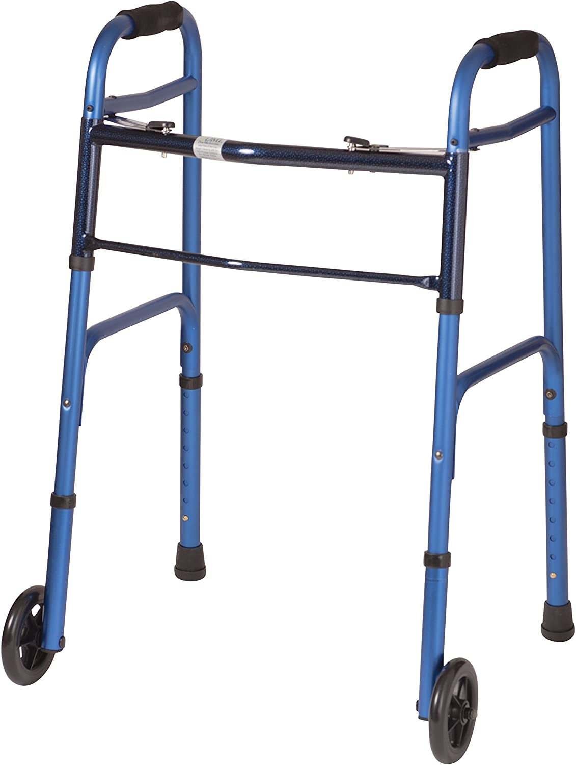 B000BO8GPQ DMI Adjustable Folding Walker, Aluminum Folding Walker with Wheels, Easy Two Button Release, No Assembly Required, Blue 71R1sgnN1xL