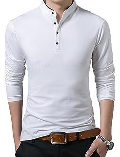 Polo Manga Larga con Cuello Mao Golf Camiseta para Hombre A7Nz1Qx2