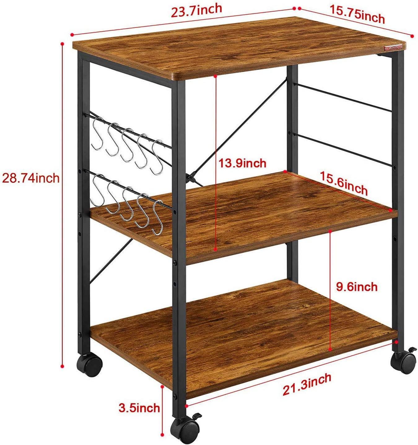 Mr IRONSTONE Kitchen Microwave Cart 3-Tier Kitchen Utility Cart Vintage Rolling Bakers Rack with 10 Hooks for Living Room Decoration - Standing Baker's Racks
