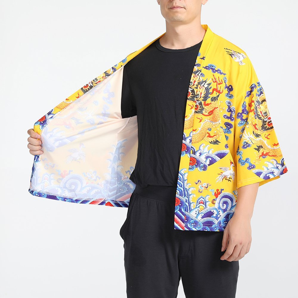 Men Japanese Yukata Coat Kimono Outwear Vintage Loose Top Chinese Dragon by Hao Run (Image #7)