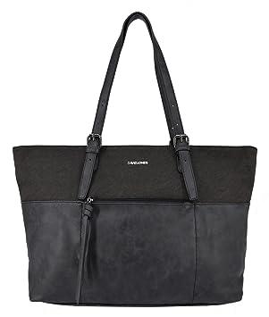 5cd62794802b5 David Jones - Damen Größe Tote Handtasche - Nubuk Samt weiches Leder imitat  Shopper Tragetasche -