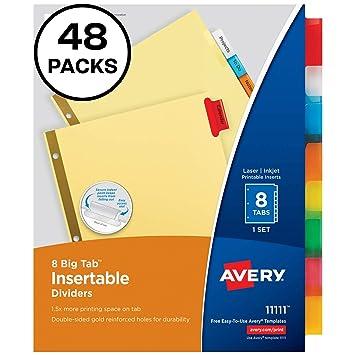 amazon avery 1119 仕切りカード 大型タブ付き 淡黄色用紙 5色マルチ