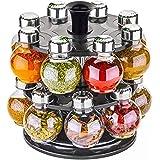THE HEVIN STORE Plastic Multipurpose Revolving Spice Jar/Condiment Set Rack, 16 Pieces, Multicolor